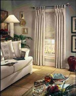 tap top drapery and roman shade